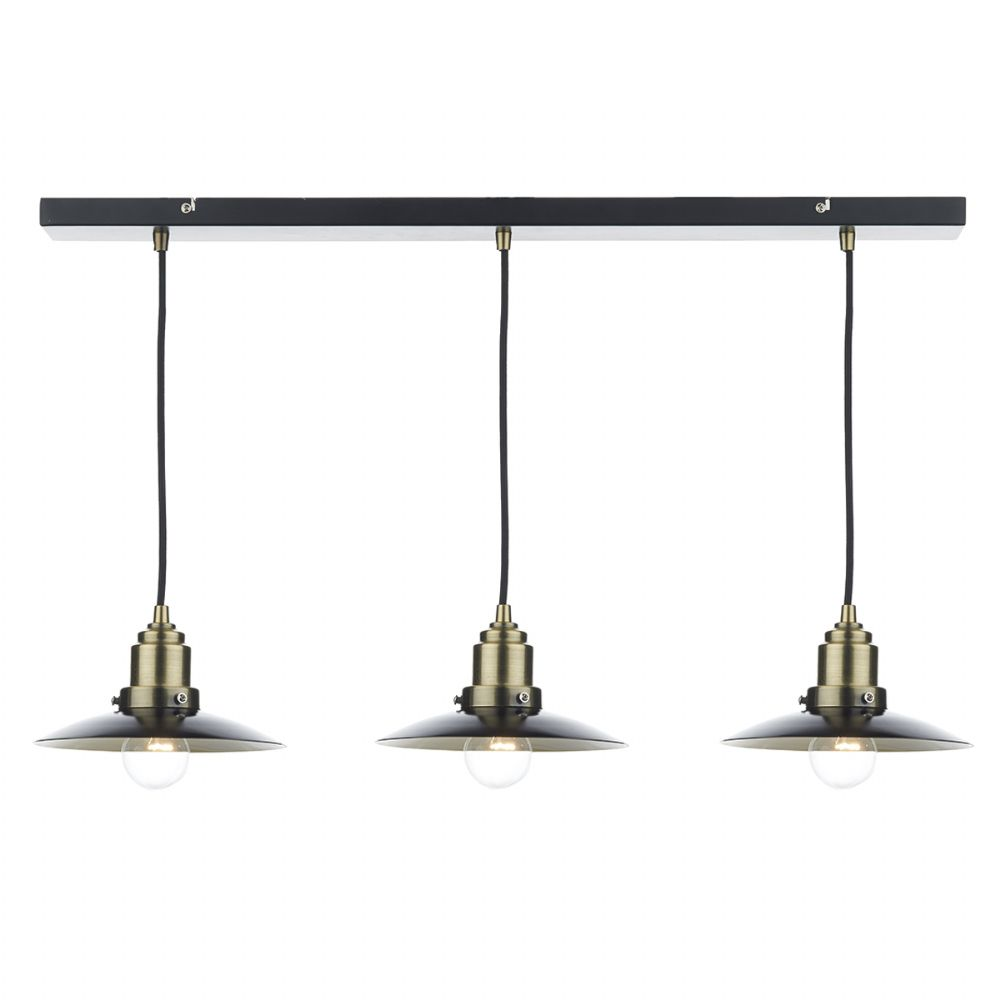 Hannover 3 Light Bar Pendant Black/ Antique Brass (Class 2 Double Insulated) BXHAN0354-17